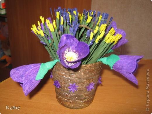 Здравствуйте, мастерицы! Очень понравились ведерки с цветами от Елены15. 12. Решилась повторить, тем более что у невесты моего брата день рождение! Она большая любительница фиолетового цвета. Вот и получился такой подарок фото 2