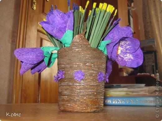 Здравствуйте, мастерицы! Очень понравились ведерки с цветами от Елены15. 12. Решилась повторить, тем более что у невесты моего брата день рождение! Она большая любительница фиолетового цвета. Вот и получился такой подарок фото 4