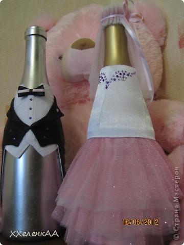 Оформление свадебных бутылок фото 2