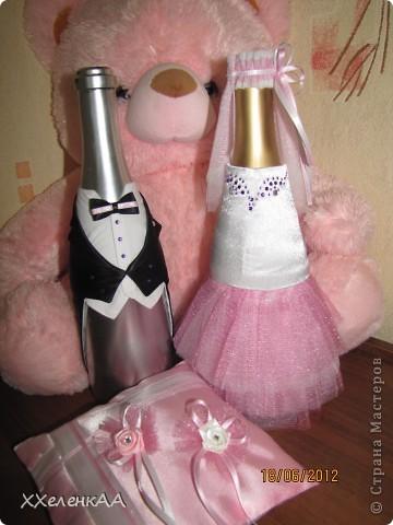 Оформление свадебных бутылок фото 1