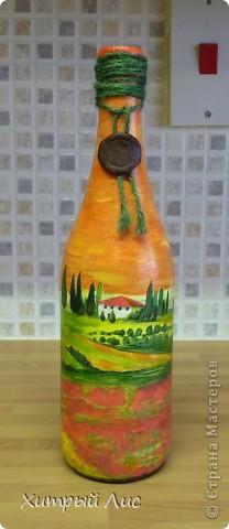 Доброго времени суток, дорогие мастера! Эти бутылки созданы на заказ. Попросили сделать в стиле 40-вых с итальянским оттенком.  А у меня получилось все наоборот! :) фото 9