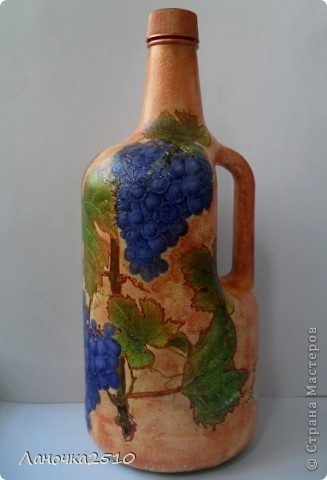 ну вот....наконец закончила последний заказ этой недели... большая бутыль для домашнего... виноградного... (скоро эта бутылочка поедет в Осетию....) теперь - вся ночь моя....хочешь - спи...хочешь - для себя ваяй...  что получилось - смотрите... фото 2