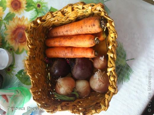 Вот в такой корзинке теперь живут мои овощи) Она немного кривовата, но мы с любимым старались) фото 1