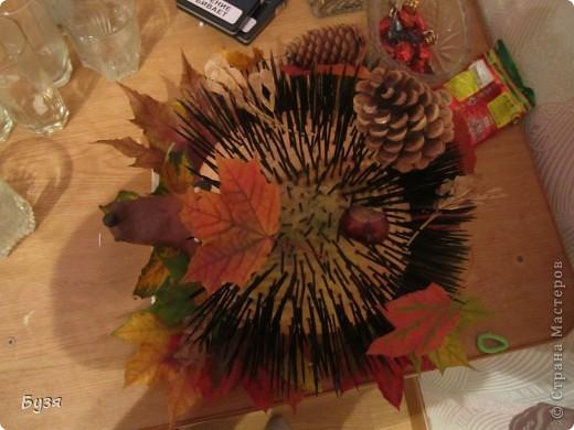 Вот такого ежика сделала на праздник осени в детский сад.  фото 2