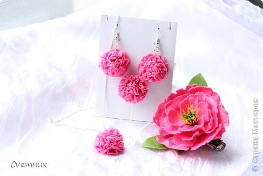 Комплектик на заказ к розовым туфлям.Подвеска,сережки,колечкои заколочка-зажим. фото 1