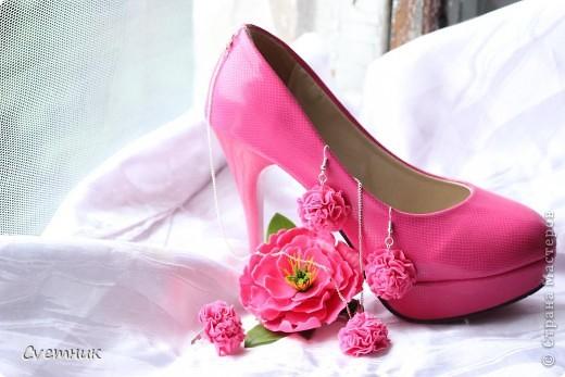 Комплектик на заказ к розовым туфлям.Подвеска,сережки,колечкои заколочка-зажим. фото 2
