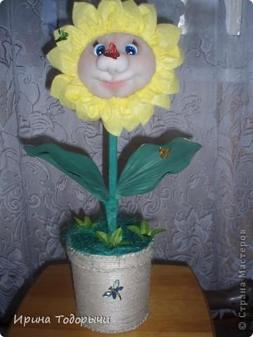Вот решила подруге на ДР сшить цветочек.Она очень любит комнатные цветы(ну чем не комнатный?))))) ).Пусть стоит и радует ее, и вспоминает меня. фото 1