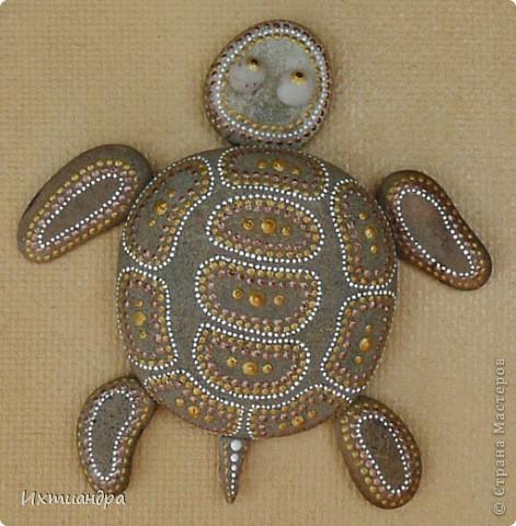 Декор предметов Роспись Каменная черепашка Клей Краска Материал природный фото 10