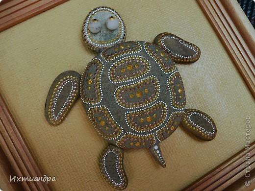 Декор предметов Роспись Каменная черепашка Клей Краска Материал природный фото 11