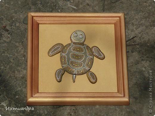 Декор предметов Роспись Каменная черепашка Клей Краска Материал природный фото 12