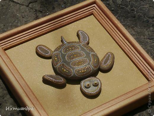 Декор предметов Роспись Каменная черепашка Клей Краска Материал природный фото 13