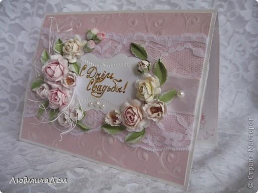 Вот такая открыточка у меня сотворилась к свадьбе. В работе использовала два вида скрапбумаги, бумагу для пастели, кружево, ленты, бусины, объемный контур. фото 1