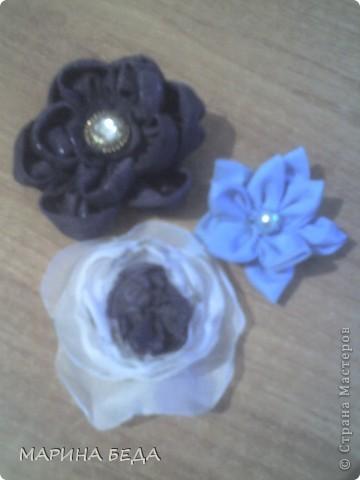 Розочка из голубой ленты фото 3