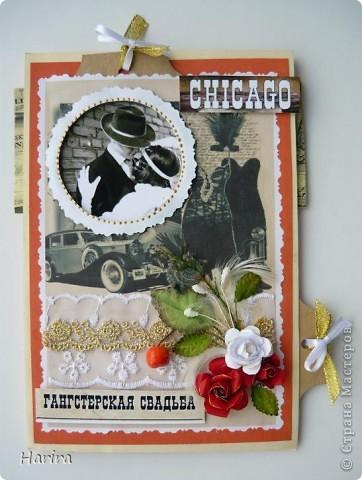 Приветствую всех жителей Страны Мастеров! Сегодня я с открыткой в стиле Чикаго 30-х годов. В последнее время стало очень популярным проводить тематические свадьбы и вечеринки. И вот перед вами результат моего труда. фото 1