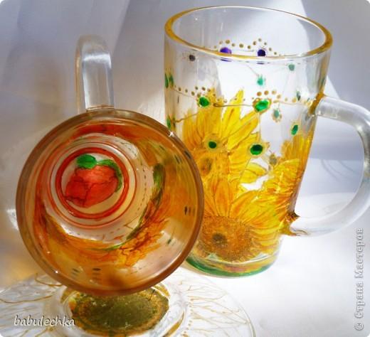 бокалы для чая: декупаж и затем для усиления цвета подсолнуха подкрасила витражными красками и в духовку. фото 5