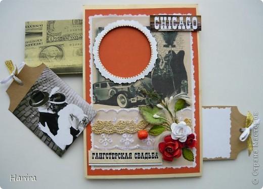 Приветствую всех жителей Страны Мастеров! Сегодня я с открыткой в стиле Чикаго 30-х годов. В последнее время стало очень популярным проводить тематические свадьбы и вечеринки. И вот перед вами результат моего труда. фото 3