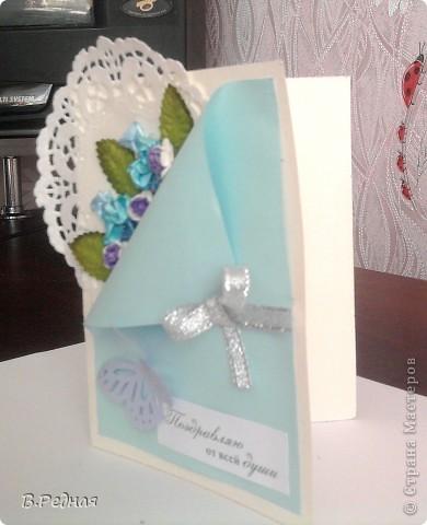 Вот появились заказы, так появились и открытки)   вот эту я делала вместе с моей подругой для её мамы) фото 4