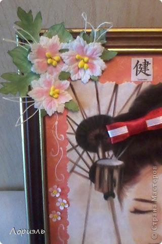 Вот такую картинку-панно я сделала себе в подарок на окончание университета(29 июня у меня вручение диплома) увидела картинку в интернете и захотелось иметь у себя кусочек Японии...не судите строго я только учусь делать картины..  фото 3