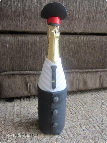 """Делала бутылочку впервые, на подарок мужу (присвоили очередное звание). Полная """"отсебятина"""" в технике, без использования чужих МК. В итоге получилось свое МК. Если интересно смотрите, может кому и пригодится... фото 14"""