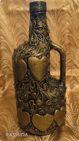 """Эта бутылка декорирована  по МК авторской технике """"Пейп-арт""""Татьяны Сорокиной.В процессе работы получила огромное удовольствие.Очень доступный МК.Спасибо. фото 1"""