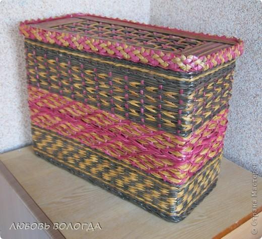 Поделка изделие Плетение Коробочка -плетеночка Трубочки бумажные фото 1