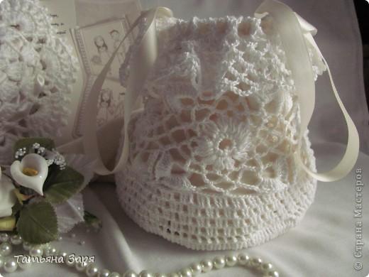 Я к вам опять со свадебным набором. Сердечко-подушка для колец и сумочка для невесты. фото 6