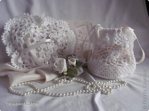 Поделка изделие Свадьба Вязание крючком Свадебный набор Ленты Нитки Пряжа Ткань фото 1