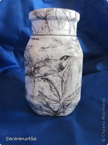 Здесь я тоже решила попробывать клей ПВА,салфетки очень понравились,как тонкой кистью, нарисованы птицы и цветы.Потом при фотографированиия поняла свои недостатки. фото 2
