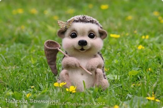 Летом, когда светит солнышко и вокруг летают бабочки, ежичку Шёрстику никак не сидится дома) Шурша своими иголочками он достает сачок и отправляется на прогулку! :) фото 1