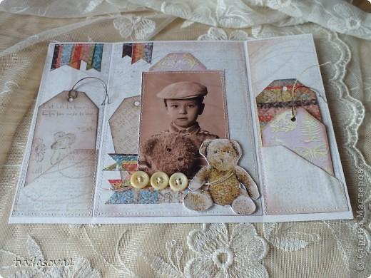 это открыточка про  старшего моего племянника...Сейчас-то он уже взрослый-20 лет...а это память из детства... фото из той же серии,что и предыдущая открытка ...но здесь  моему мальчику 5 лет...и потому дизайн посерьезней! хотя тоже - ничего сложного... фото 4