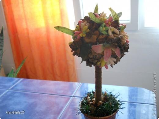 мое ассорти-холодный форфор,готовые листья и мои собственно ручные цветы из веток(на точилке крутила веточки и получались природные цветочки) фото 1