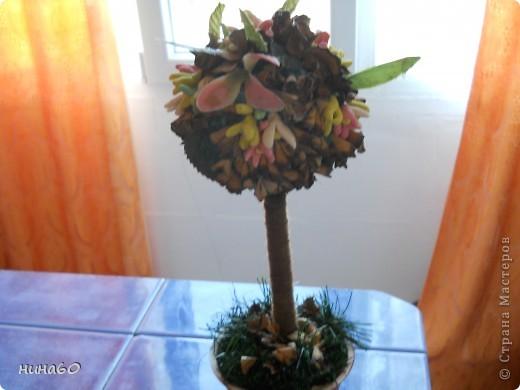 мое ассорти-холодный форфор,готовые листья и мои собственно ручные цветы из веток(на точилке крутила веточки и получались природные цветочки) фото 2