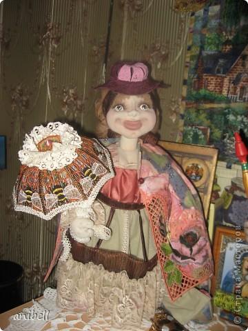 Кукла Ариша с применением машинной вышивки. фото 3