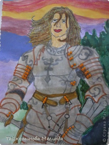 Третья работа на конкурс http://stranamasterov.ru/node/372481#comment-4355898 от замечательной мастерицы Маши (бригантины) Рисунок Ланселот. Рисовала его акварелью, все кнопки из бисера, а волосы немного украсила блеском. фото 1