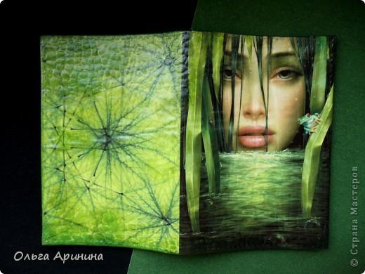"""Кожаная обложка на паспорт """"Манящая в омут"""", декорированная в технике декупаж, подрисовка акриловыми красками, покрыта стекловидным лаком.  фото 1"""