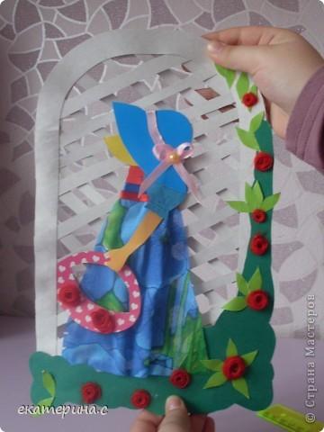 вот такая девочка из картона ткани тесьмы ниток и бумаги фото 2
