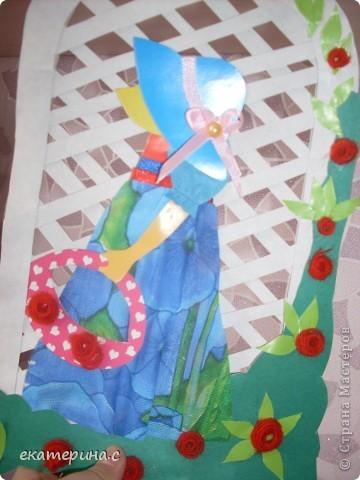 вот такая девочка из картона ткани тесьмы ниток и бумаги фото 3