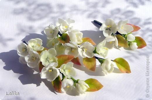 Украшение для невесты. Две веточки жасмина в прическу и бутоньерка для жениха. фото 3