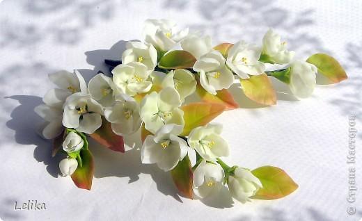 Украшение для невесты. Две веточки жасмина в прическу и бутоньерка для жениха. фото 1