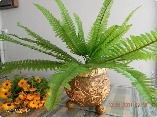 Когда-то,увидев в интернете подобную вазу(она была сделана в виде ведра с ручкой и логотипом на боку),захотела такую же сотворить...Долго вынашивала такую идею,затем сделала основу из папье-маше и... надолго забыла о ней... фото 4