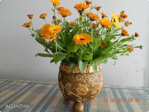 Когда-то,увидев в интернете подобную вазу(она была сделана в виде ведра с ручкой и логотипом на боку),захотела такую же сотворить...Долго вынашивала такую идею,затем сделала основу из папье-маше и... надолго забыла о ней... фото 1