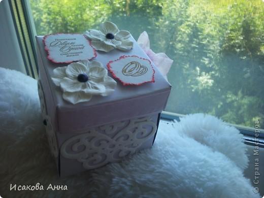 вот такая коробочка для денег и маленького подарочка на свадьбу фото 1