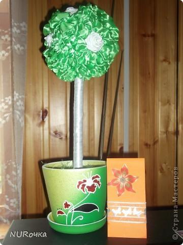 Вот оно какое, мое первое деревце и открытка :) Все делалось в подарок крестнице. Далеко от идеала, но с чего-то надо начинать :) фото 1