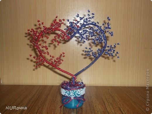 Очень понравилась работа Олисандры http://stranamasterov.ru/node/150524  Решила попробовать сделать такое деревце, но если сравнивать, мое скорее похоже на кустик :) Но мне все равно нравится! :) Когда делала, еще не знала кому и по какому случаю подарю, но пока сделала, решила подарить любимой бабулечке на 83-ий день рождения в знак нашей любви :)
