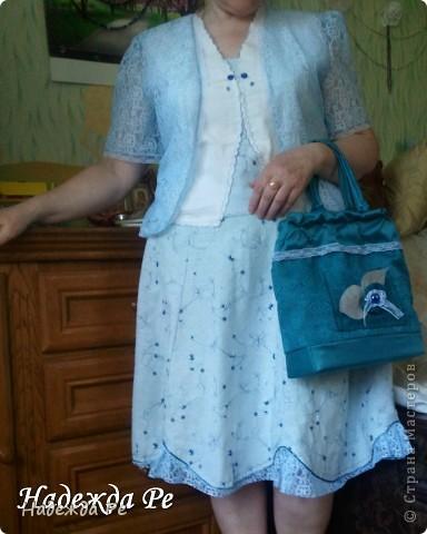 Вот хвастаюсь своим новым ,летним костюмчиком,шила на одном дыхании и недавно добавилась сумочка. фото 5