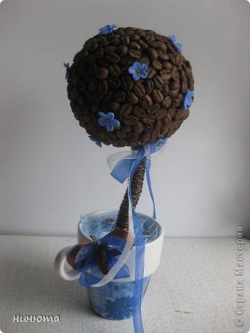 Мое первое кофейное дерево с незабудками из полимерки. Чашечка с декупажем. фото 1