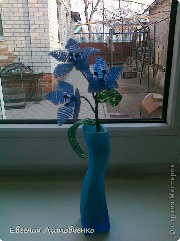 Очень уж мне понравились цветы из бисера,  решила попробовать, вот что получилось. фото 1