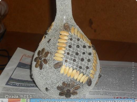 Для работы использованы старая колба, семена арбуза и дыни, перец черный горошек, манная крупа, сетка которая используется в строительстве. фото 2