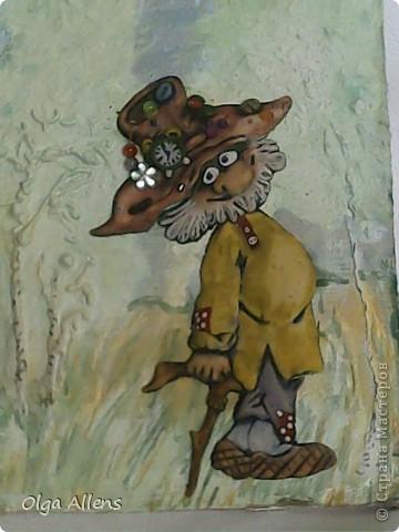 Ещё  одно моё панно  на  шпатлёвочной основе.   Сразу крупным планом  шляпа, пока  её не  сдуло ветром))  фото 3