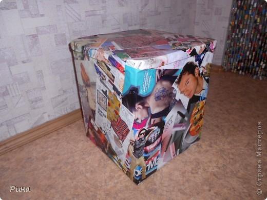 пуф из картонных каробок фото 1